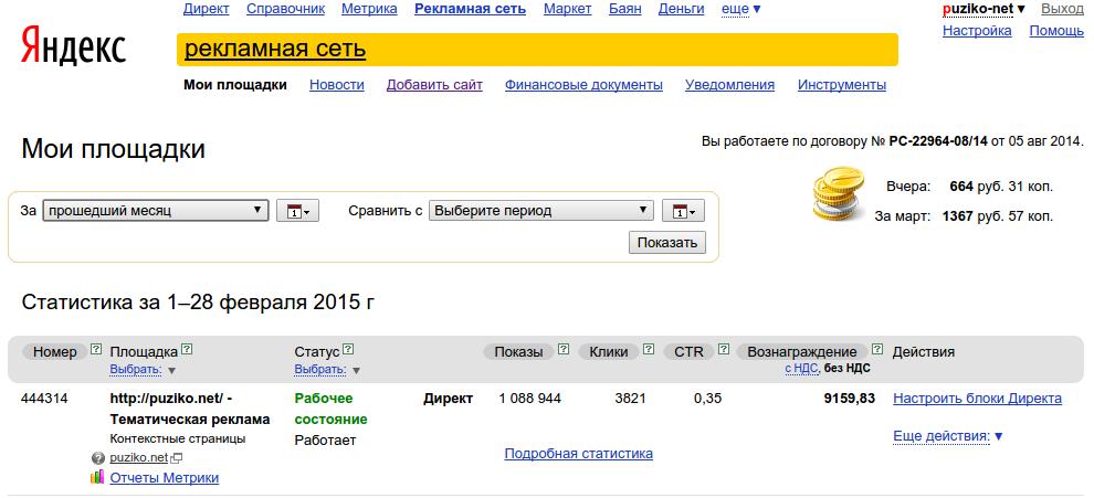 А вот так выглядит кабинет администратора в Рекламной Сети Яндекса